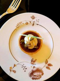 Tiny pumpkin tart for tea at the Taj Boston.